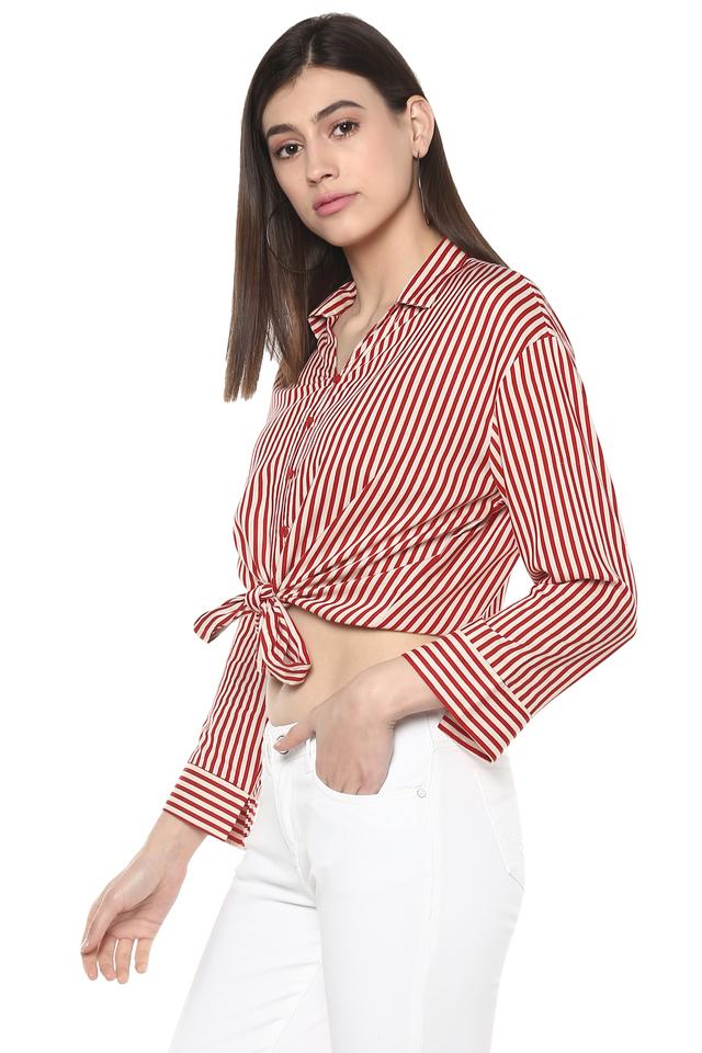 Womens Tie Up Striped Casual Crop Shirt