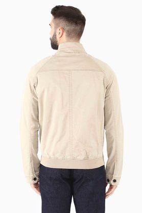 Mens Straight fit Band Collar Solid Jacket