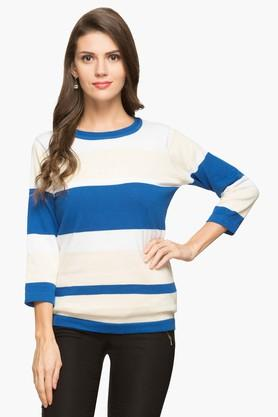STOP Womens Round Neck Stripe Sweater - 203404182