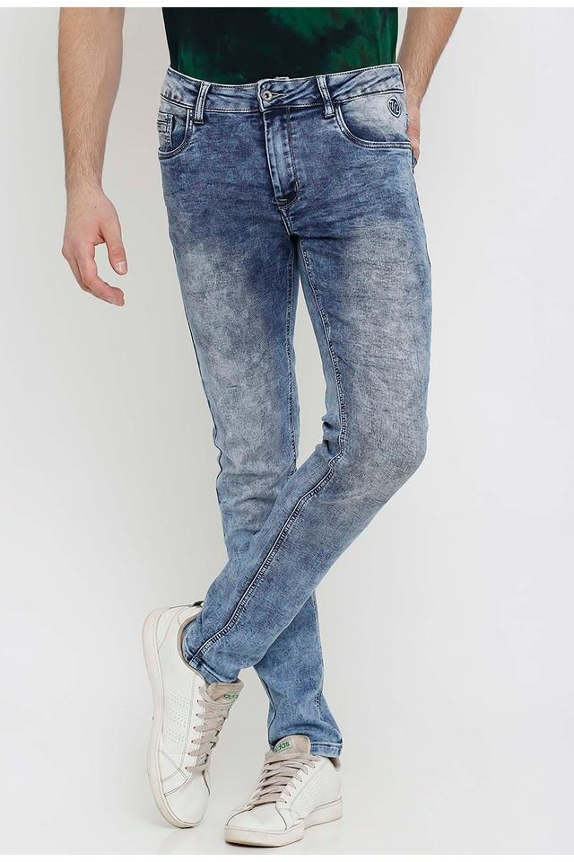 Mens Slim Fit Acid Wash Jeans