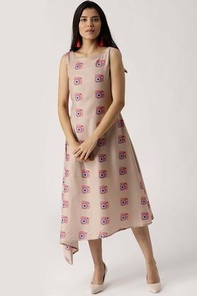 Womens Boat Neck Muslin Printed A-Line Dress