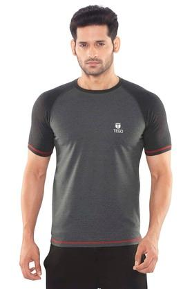 TEGO Mens Round Neck Colour Block T-Shirt