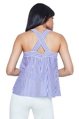 Womens Square Neck Striped Top