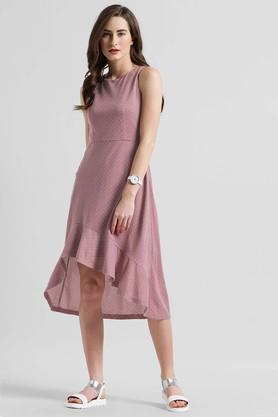 Womens Dot Pattern High Low Dress