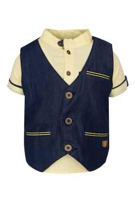 Boys Mandarin Neck Solid Shirt with Waistcoat