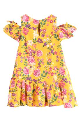 Girls Round Neck Floral Print Drop Waist Dress