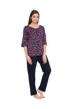 Womens Floral Print Top and Printed Pyjamas Set