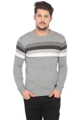 ALLEN SOLLY Mens Round Neck Striped Sweater