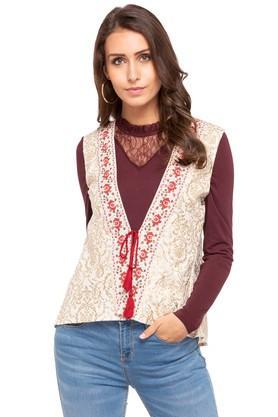 Womens Tie Up Neck Printed Jacket