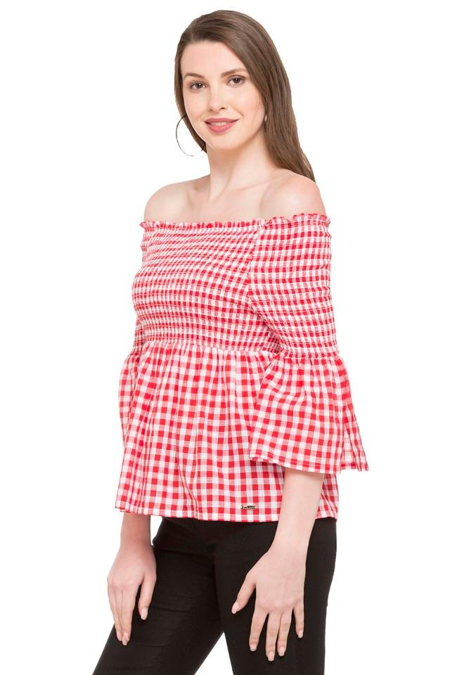 Womens Off Shoulder Checked Top