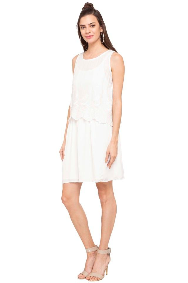 Womens Round Neck Embroidered Knee Length Dress