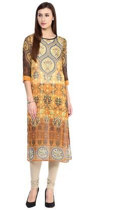 FUSION BEATS Womens Round Neck Printed Kurta - 204738500_9508