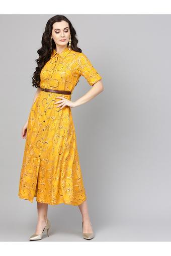 Womens Collared Neck  Printed Shirt Dress