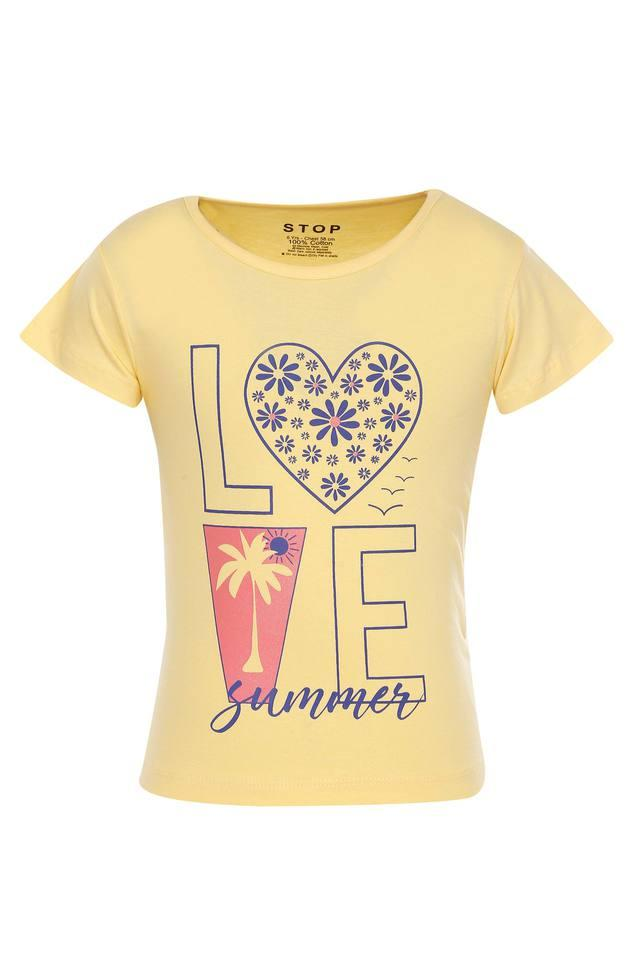 Girls Round Neck Printed Tee