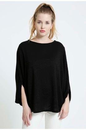 COVER STORY Womens Round Neck Solid Poncho