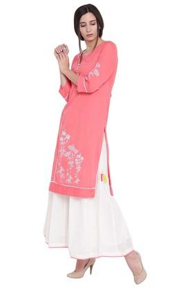 Womens Notched Neck Printed Straight Fit Kurta