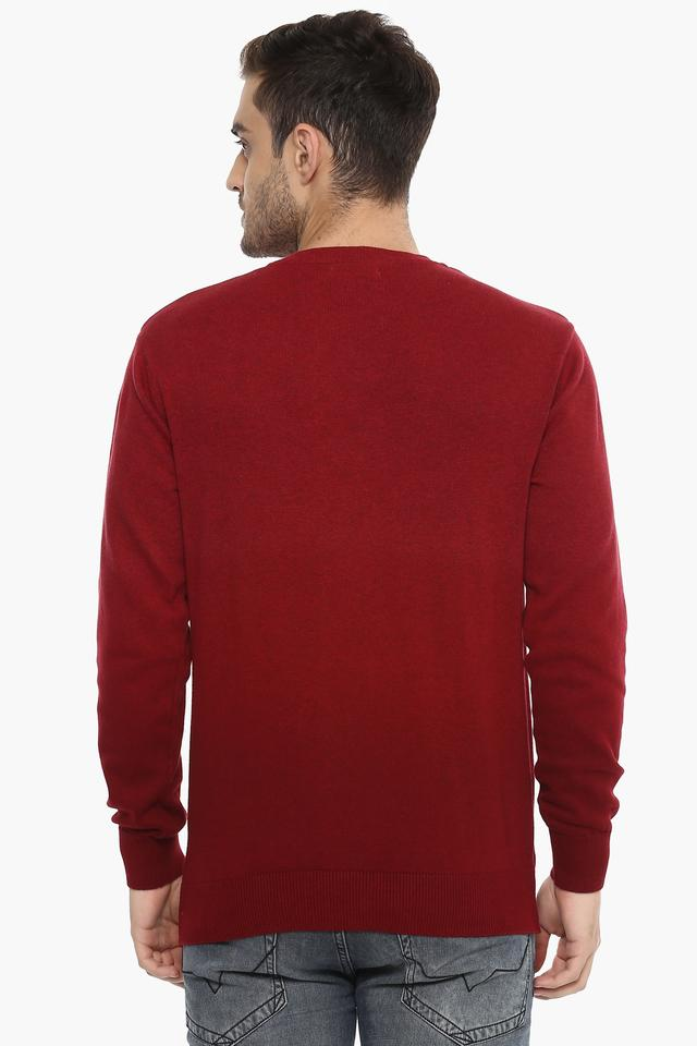 Mens Round Neck Solid Sweater