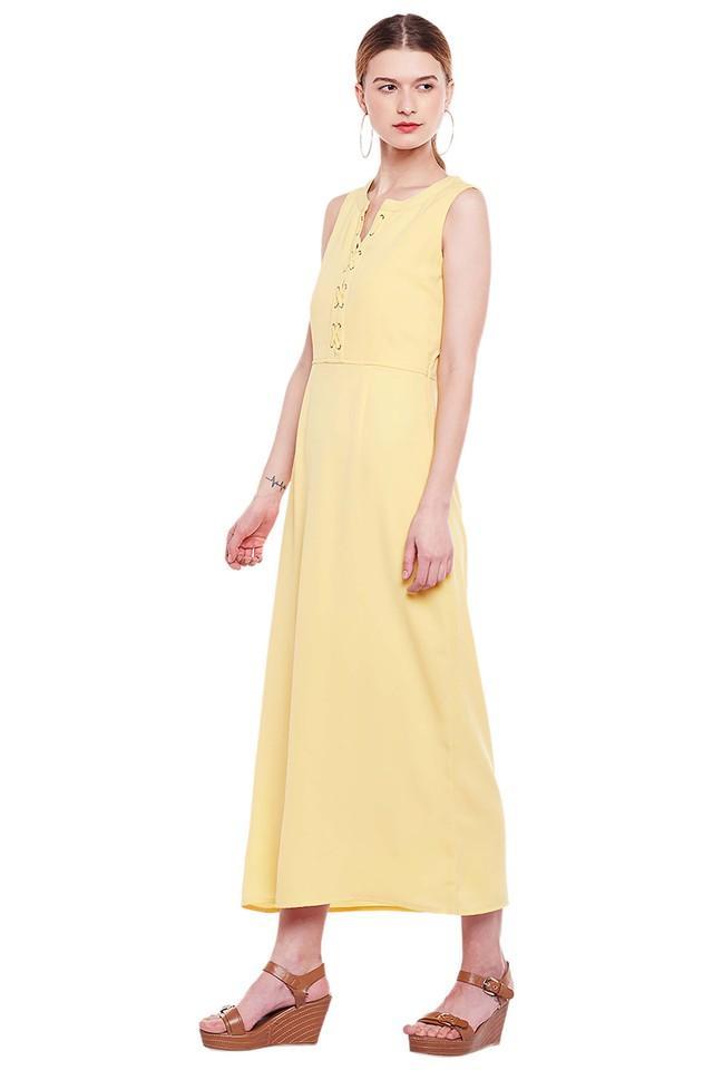 Womens Solid Calf Length Dress