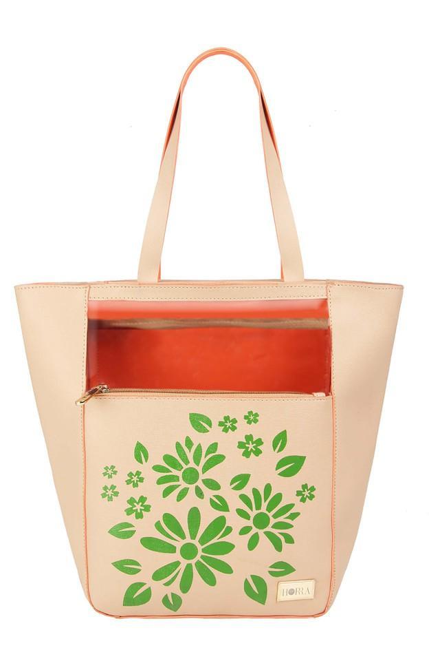 Womens Zipper Closure Tote Handbag with Pouch