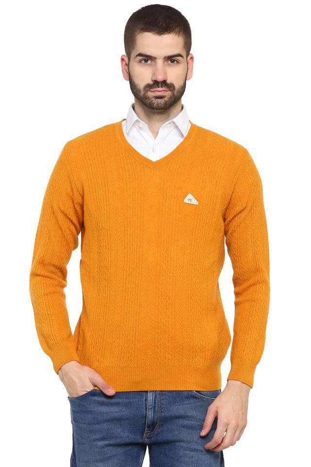 Mens V Neck Solid Pullover