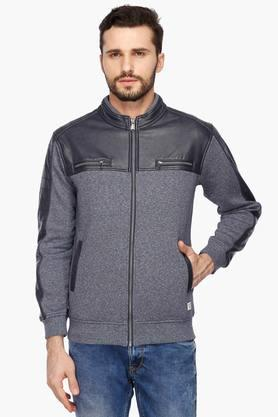 OCTAVE Mens Zip Through Neck Colour Block Sweatshirt - 203326952