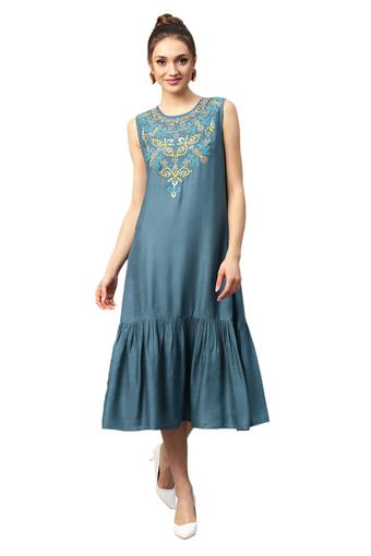Womens Round Neck Embroidered Drop Waist Dress