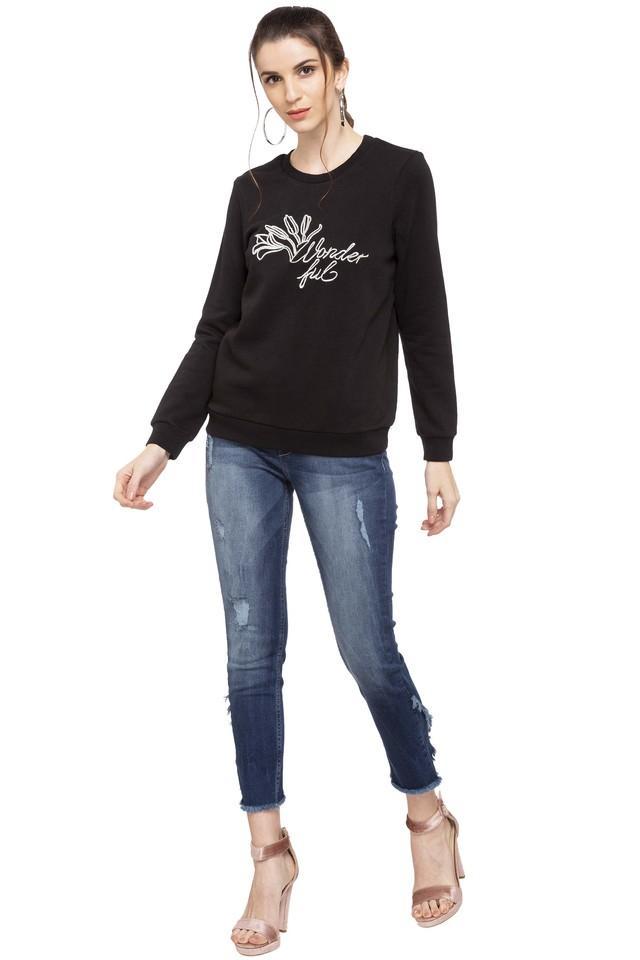Womens Round Neck Embroidered Sweatshirt