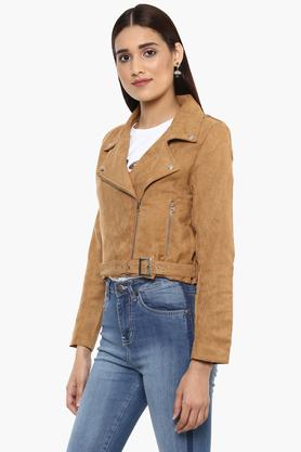 Womens Collared Slub Jacket