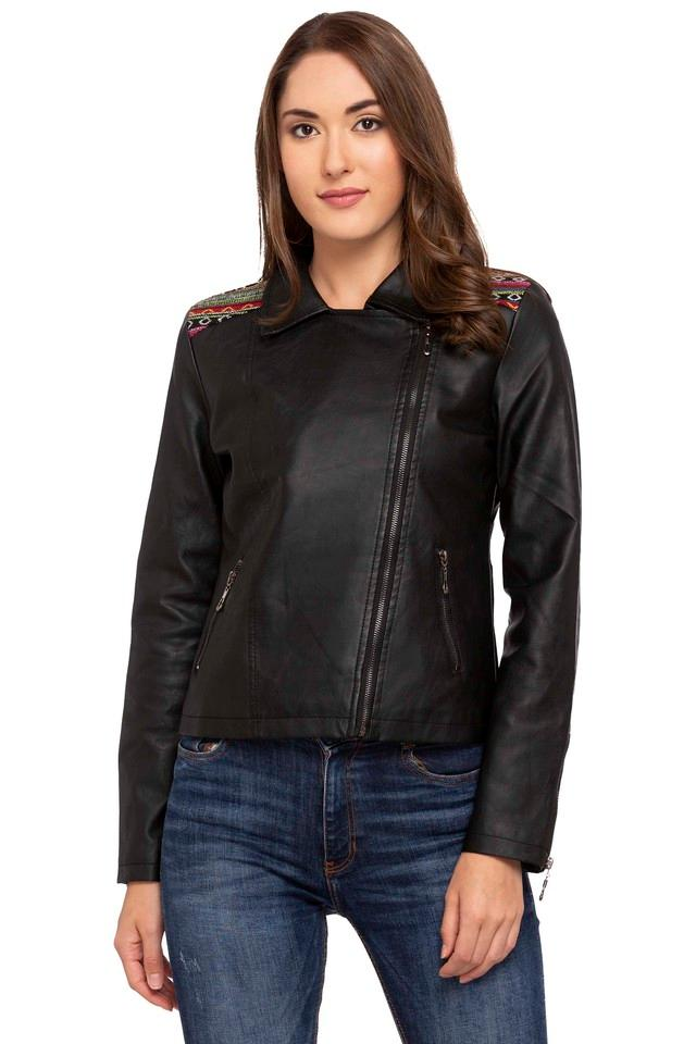 Womens Collared Solid Embroidered Yoke Bikers Jacket