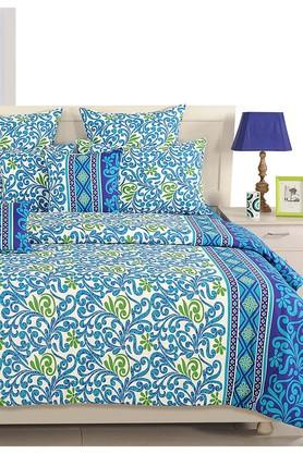 SWAYAMNavy Blue And Blue Floral Double AC Comfortor