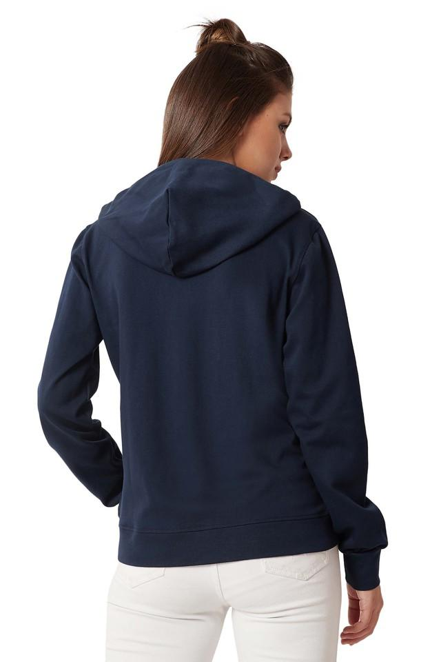 Womens Loose Fit Hooded Solid Twill Tape Sweatshirt