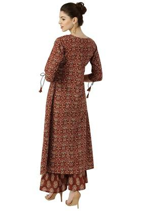 Womens Printed High Low Kurta With Palazzo Pants
