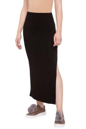 LIFEWomens Solid Calf Length Skirt