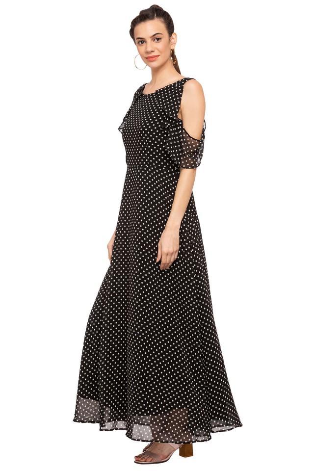 Womens Round Neck Dot Pattern Maxi Dress