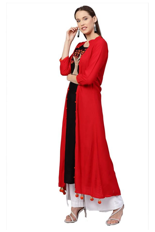 Womens Round Neck Embroidered Kurta with Jacket