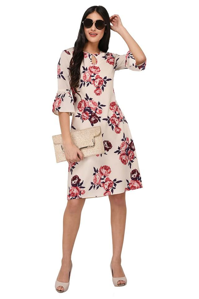 Womens Round Neck Floral Print Knee Length Dress