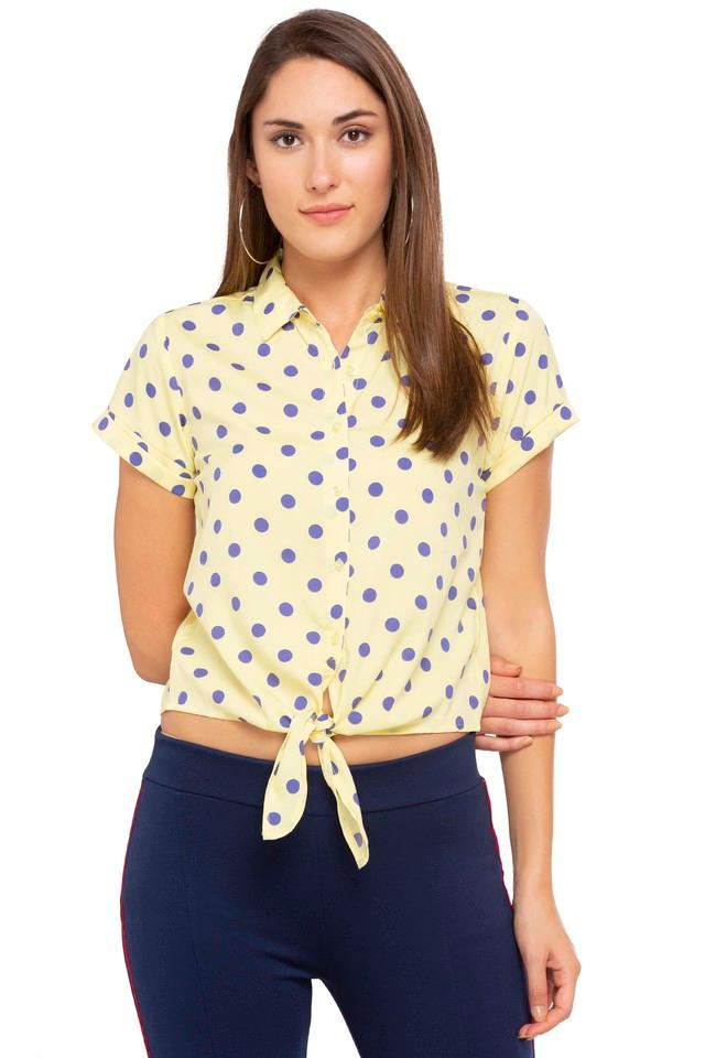 Womens Collared Printed Tie Up Shirt
