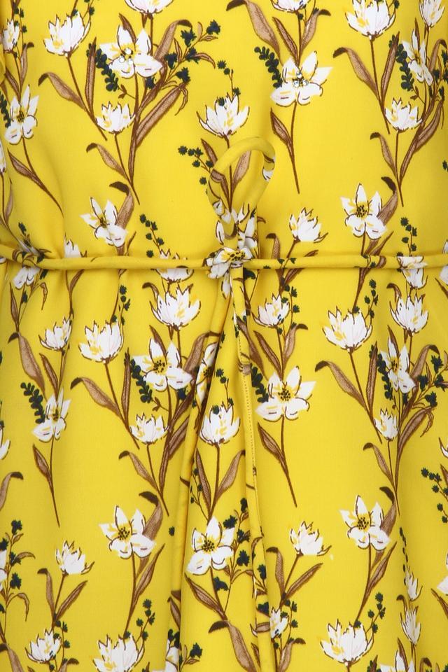 Girls Round Neck Floral Print A-Line Dress with Belt