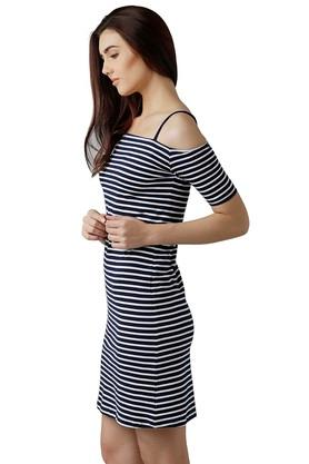 Womens Off Shoulder Striped Bodycon Dress