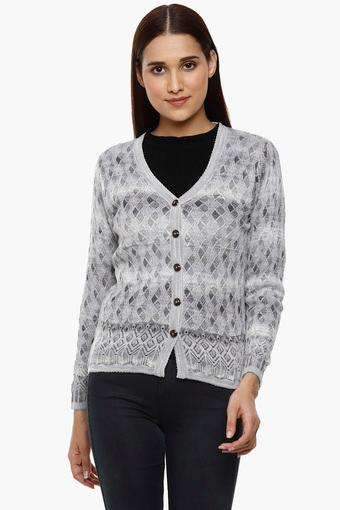 e039ceccb52c Buy MONTE CARLO Womens V-Neck Knitted Pattern Cardigan