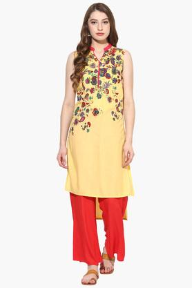 JUNIPER Womens Floral Print High Low Kurta With Palazzo