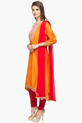 Womens Round Neck Solid Asymmetrical Churidar Suit