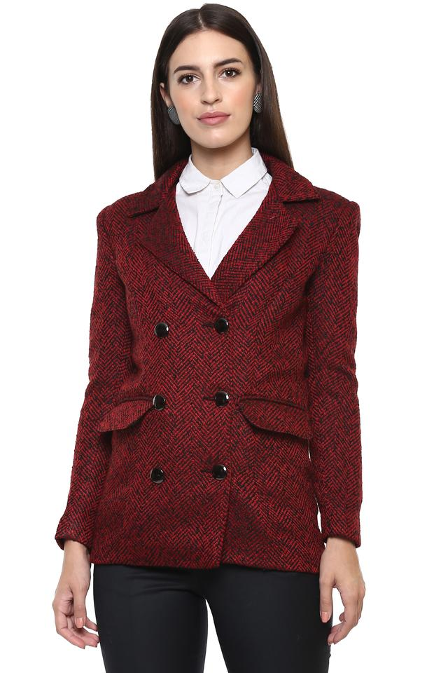 Womens Notched Lapel Textured Jacket