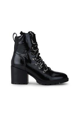 Womens Lace Up Low Block Heeled Ankle Boots
