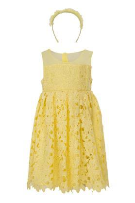 Girls Round Neck Assorted Flared Dress with Hairband