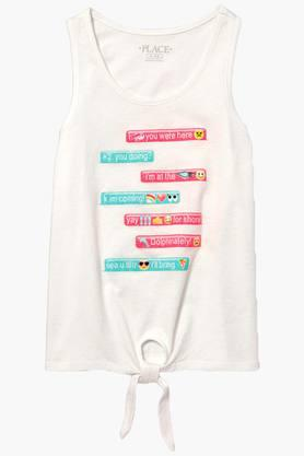 Girls Round Neck Printed Tank Top
