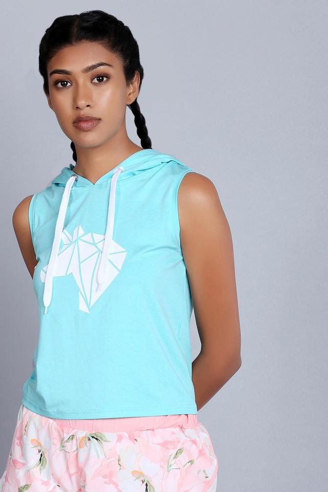Womens Hooded Neck Printed Top