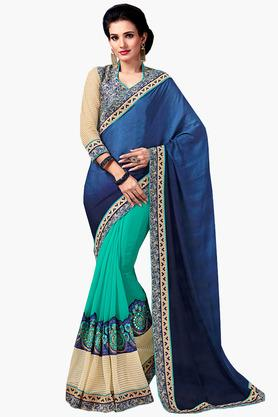DEMARCAWomens Georgette Dual-toned Lace Saree