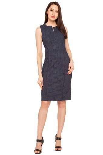 Womens Notched Neck Slub A-Line Dress