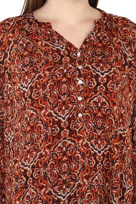 Womens Mandarin Collar Printed Kurti